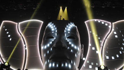 Avicii atop a large head display Thursday at Consol Energy Center.