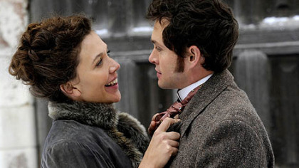 Maggie Gyllenhaal portrays one of two sisters holding the interest of Hugh Dancy in &quot;Hysteria.&quot;