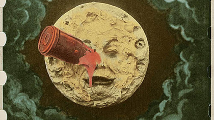 "The rocket to the eye of the man in the moon is the  iconic image from Georges Melies' 1902 film ""A Trip to the Moon."""