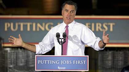 Republican presidential candidate, former Massachusetts Gov. Mitt Romney gestures Thursday during a campaign stop at Seilkop Industries in Cincinnati, Ohio.