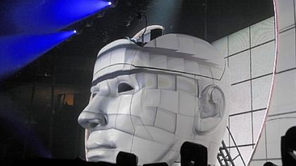 Avicii, a Swedish DJ, remixer and record producer performs atop the head at the Consol Energy Center