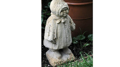 A small statue in Basil Cox's Squirrell Hill garden.