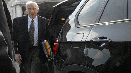 Jerry Sandusky, the former Penn State assistant football coach who is standing trial on 52 counts of child sex abuse.