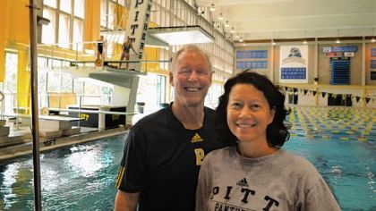 Pitt diving coaches  Julian Krug and Dorothy &quot;Doe&quot; Krug  at Trees Hall.