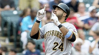 Pedro Alvarez touches home plate after hitting his second three-run home run against the Indians in the sixth inning Sunday at Progressive Field in Cleveland.