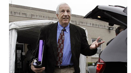Former Penn State University assistant football coach Jerry Sandusky leaves the Centre County Courthouse today.