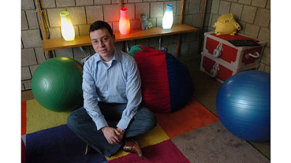 Dr. Luis von Ahn, Assistant Professor of Computer Science at Carnegie Mellon University in his office.