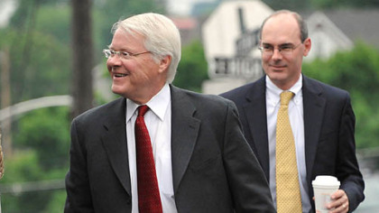 Senior deputy attorney general and lead prosecutor Joe McGettigan, left, and deputy attorney general Frank Fina enter the Centre County Courthouse on Monday.