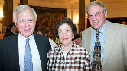 "PG's Dan Simpson with Nancy and Dan Fales on Friday during the opening celebration of ""Three Centuries of Printmaking"" at the Frick Art & Historical Center."