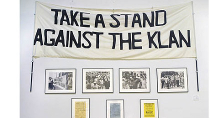 A banner used in 1980 on display at the August Wilson Center.