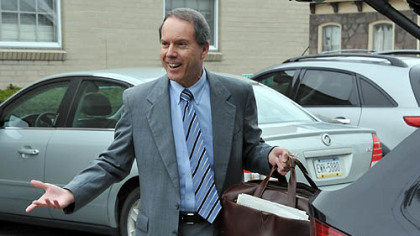 Jerry Sandusky's attorney Joe Amendola enters the Centre County Courthouse today.