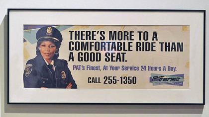 A transit poster showing Vera Avery, who provided security for the Port Authority.