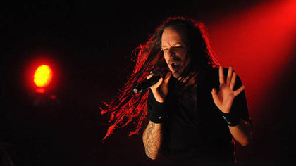 Korn lead singer Jonathan Davis lets loose outside at Stage AE Tuesday.
