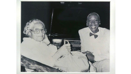 "A photograph of Rosa Parks, left, with Brenda Tate on display at the ""Strength in the Struggle: Civil Rights"" exhibit at the August Wilson Center for African American Culture."
