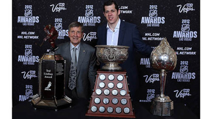Evgeni Malkin of the Penguins poses with Ted Lindsay after winning the Ted Lindsay Award, the Art Ross Trophy and the Hart Trophy during the 2012 NHL Awards at the Encore Theater at the Wynn Las Vegas.