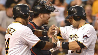 The Pirates' Rod Barajas is congratulated at home by Pedro Alvarez after hitting a two run homer in the 6th inning against the Twins.