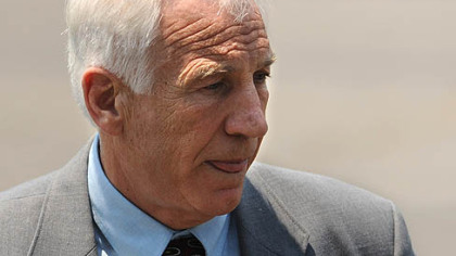 Former Penn State University assistant football coach Jerry Sandusky leaves the Centre County Courthouse in Bellefonte on Thursday. Jurors in Sandusky's child sexual abuse case return to deliberations this morning.