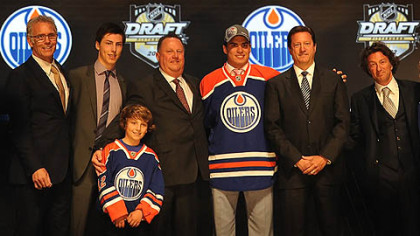 The Edmonton Oilers picked Nail Yakupov who donned his new team's cap and jersey as the first overall draft selection in the 2012 NHL Draft tonight at the Consol Energy Center, Downtown.