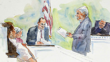In this courtroom sketch, Judge John Cleland, right, listens as prosecutors Joseph McGettigan III, second from right, and Frank Fina, third from right, re-create the testimony of former Penn State assistant football coach, Mike McQueary, for the jury, seated at left.