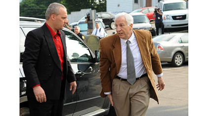 Jerry Sandusky arrives at the Centre County Courthouse on Friday.