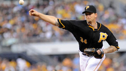 Pirates starting pitcher A.J. Burnett delivers against Detroit last night at PNC Park.