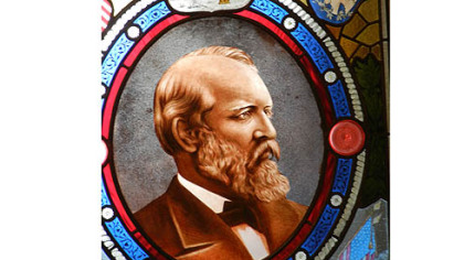 Stained glass window with image of President James Garfield, the 20th president, who was fatally wounded a few months after taking office.