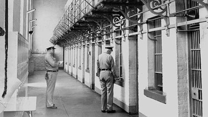 Western Penitentiary guards count prisoners in a cell block in 1962.
