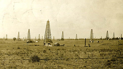 This postcard, postmarked Sept. 4, 1913, shows oil fields in Drumright, Okla. The photo is part of the Devon/Dunning Petroleum Industry Collection.