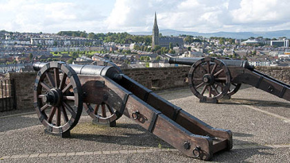 Cannons sit above an old garrison in Derry, Northern Ireland. Once the center of strife and violence, Derry is rebranding itself as a cultural, historic and tourist destination.