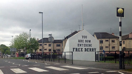 "This slogan marks Free Derry Corner in the Bogside neighborhood of Derry, where Catholic residents rioted against police in 1969 at the start of a decades-long stretch of sectarian violence known as ""The Troubles."""