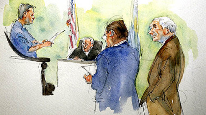 In this courtroom sketch, Judge John Cleland, second from left, defendant  former Penn State assistant football coach Jerry Sandusky, right, and his lawyer Karl Rominger, second from right, listen as the verdict in Sandusky's child sexual abuse trial is read by the jury foreman at the Centre County Courthouse last night.