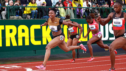 Carmelita Jeter wins the 100-meter final to secure her Olympic spot.