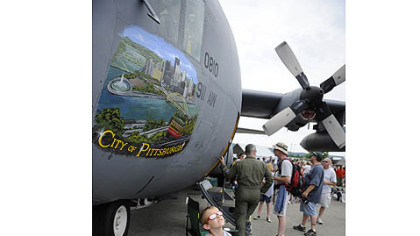 "Visitors to the air show were able to tour the inside of the C-130 ""City of Pittsburgh"" of the 911th Air Wing"