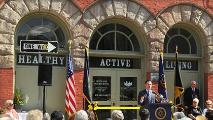 Pittsburgh Mayor Luke Ravenstahl speaks during today's ribbon-cutting ceremony for the reopening of the South Side Market House.
