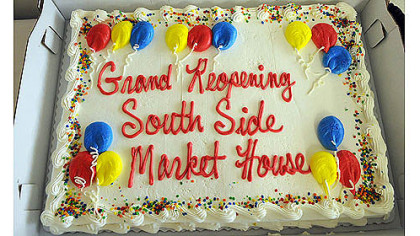 One of two cakes made in honor of the reopening of the South Side Market House today.