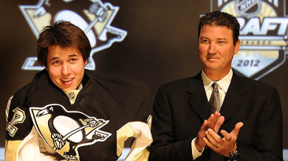 The Penguins' No. 1 pick, Derrick Pouliot, meets owner Mario Lemieux Friday at Consol Energy Center.