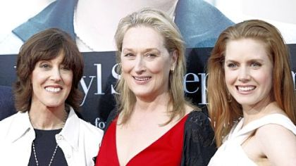"Screenwriter-director Nora Ephron, left, and ""Julie and Julia"" co-stars Meryl Streep and Amy Adams in 2009."