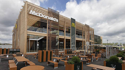 A view of the newly constructed McDonald's restaurant at the Olympic Park in east London, Monday, June 25, 2012.