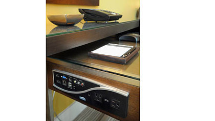 A connection box at the Fairmont Pittsburgh will allow almost any device a guest brings to connect and charge.