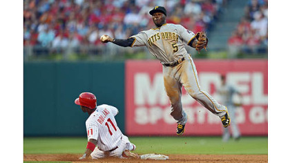 Josh Harrison forces Jimmy Rollins at second base, but can't turn the double play Wednesday in Philadelphia.