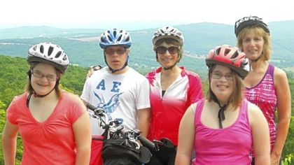 Riding for a cause: in front, twins Jill, left, and Shari DeGeorge; in back, left to right, Alex, and Lori Novak and Pam DeGeorge.