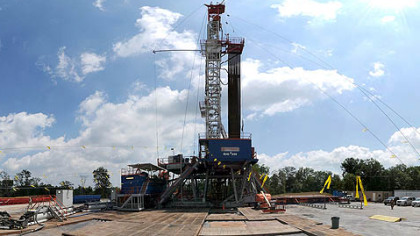 A gas drilling rig in Western Pennsylvania.