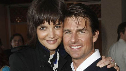 Katie Holmes, left, and Tom Cruise at the MTV Movie Awards in 2008.