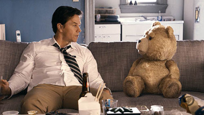 "Mark Wahlberg hangs out with Ted (voice of Seth MacFarlane) in ""Ted."""