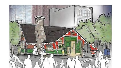 An artist rendering of Santa's House, part of the European Market the Pittsburgh Downtown Partnership will bring to Market Square during its Christmas holiday promotion.