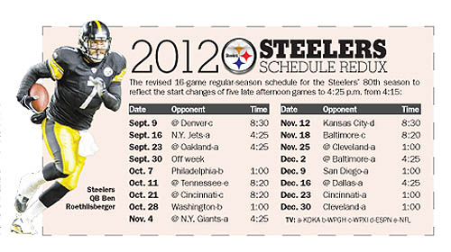 Pittsburgh Steelers 2014 Schedule Printable