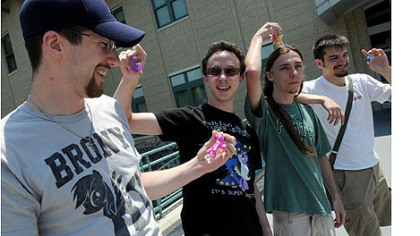 John Drake, left, 24, a graduate student from University of Pennsylvania, Edward Garbade, 19, Kevin Lemon, 21, and Michael McGinnis, 22, all CMU students, are heading to New York for a Brony convention. .