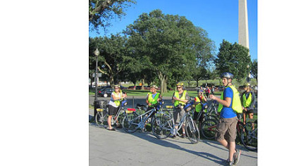 Sam Edelstein leads a Bike and Roll tour in Washington, D.C.
