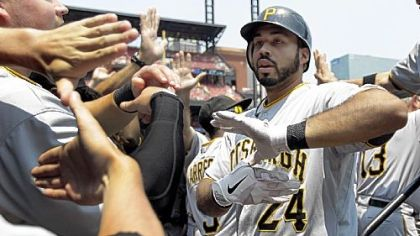 Continuing the onslaught that began Friday night, Pedro Alvarez hit a grand slam in the first inning Saturday to jump-start the Pirates in St. Louis. The homer was Alvarez's 15th.