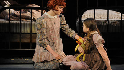 "Johanna Loughran, left, as plucky orphan Annie and Felicia Niebel as Molly in Pittsburgh CLO's ""Annie"" at the Benedum Center through July 8."